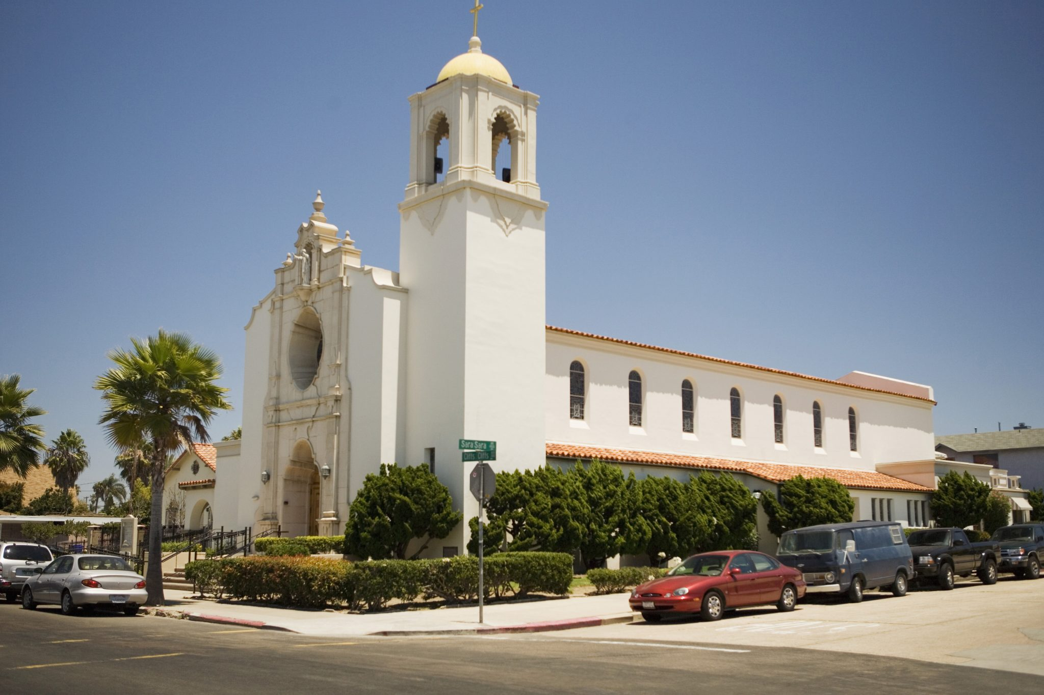 Cars Parked Outside A Church, Sacred Heart Church, San Diego, California, USA