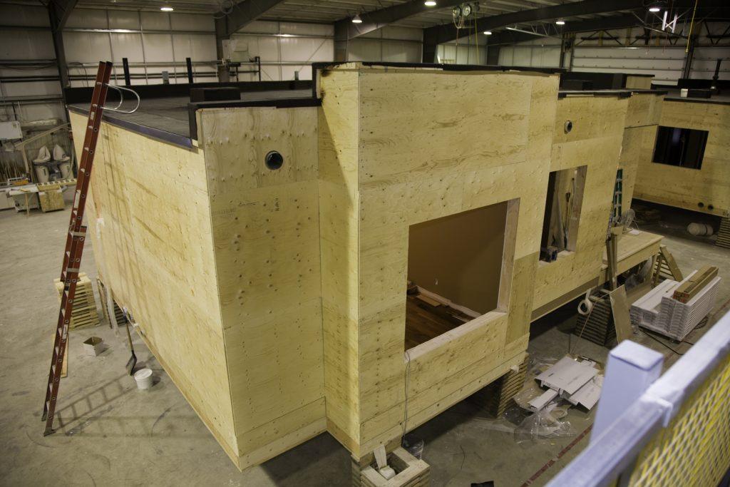 Construction of a modular town house representing Modular Buildings Florida.