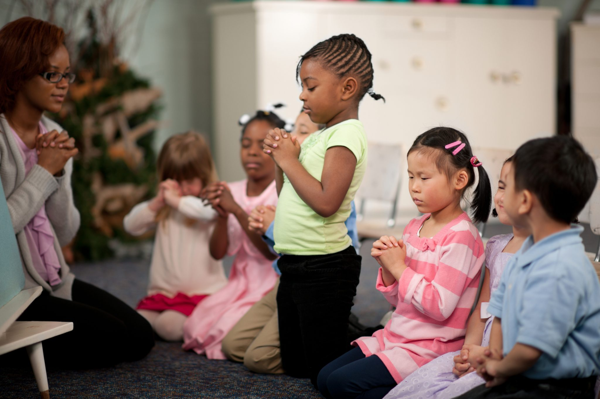 Children In A Religious Program Representing