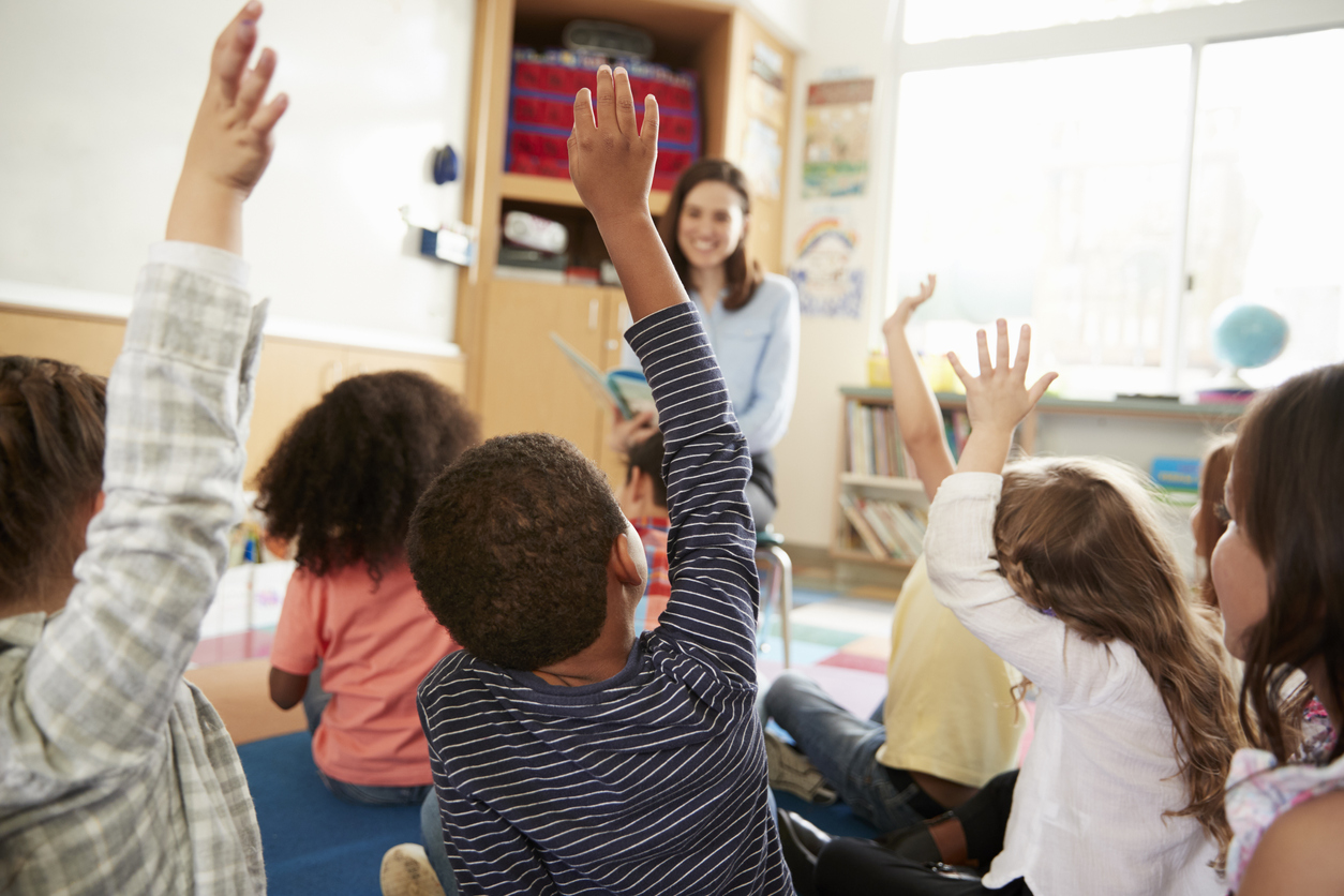Elementary School Kids Raising Hands To Teacher, Back View