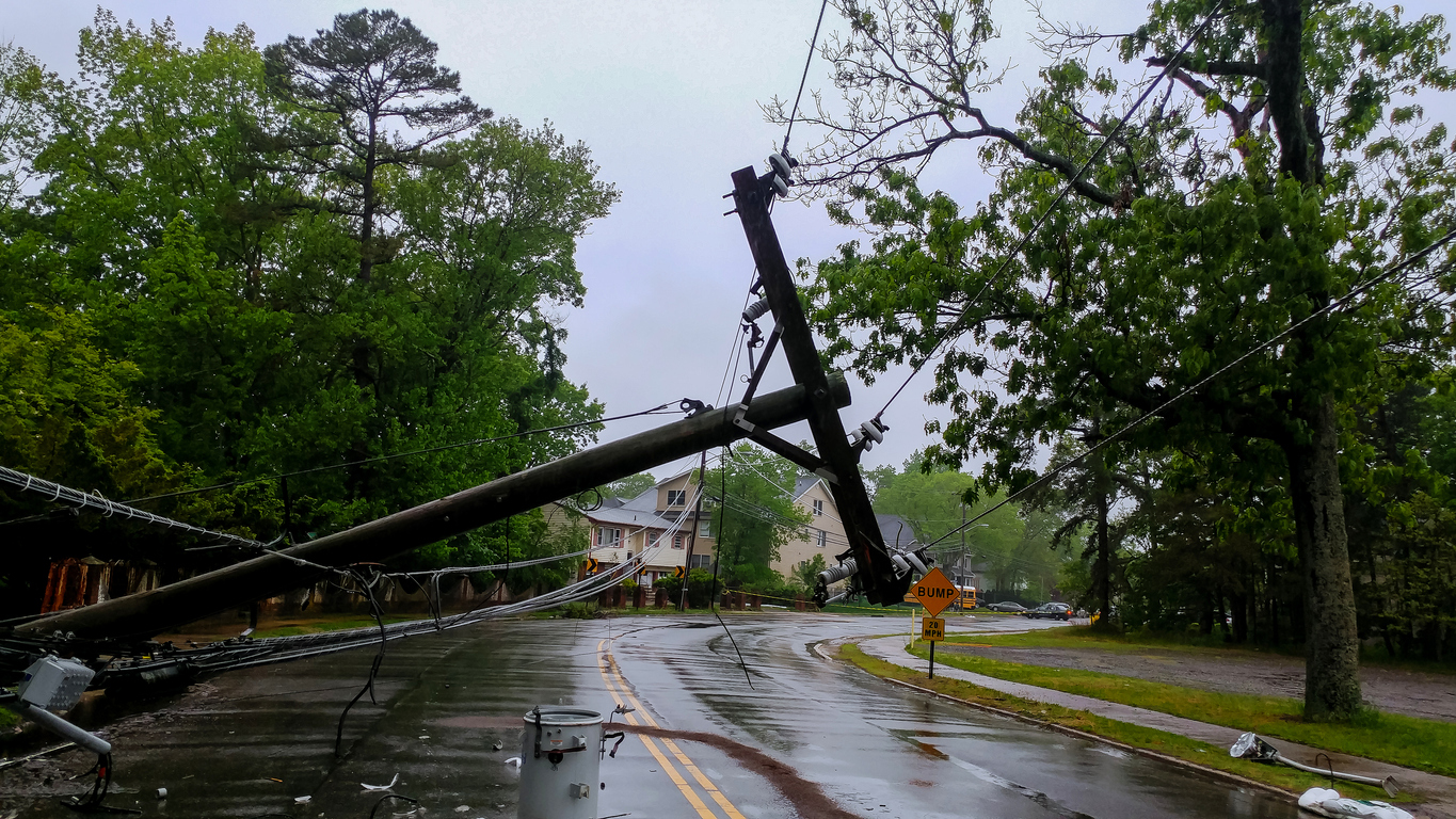 Transformer On A Electric Poles And A Tree Laying Across Power Lines Over A Road After Hurricane - Representing Modular Office Building